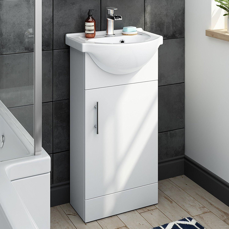 410 mm Matte White Vanity Sink Unit Ceramic Basin Bathroom Storage Furniture MV700 iBathUK