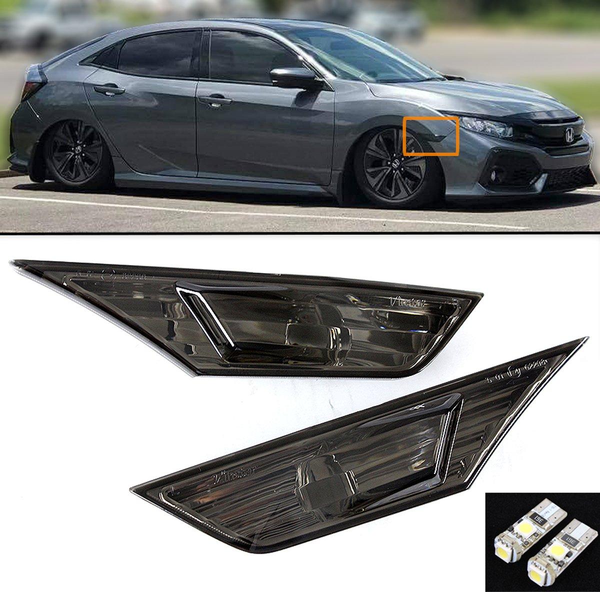 NSLUMO Front White LED Side Marker Lights for Honda Civic 10th Gen 2016-2021 Coupe Hatchback with 2Pcs T10 Light Bulbs OEM#H02551127N Clear Lens