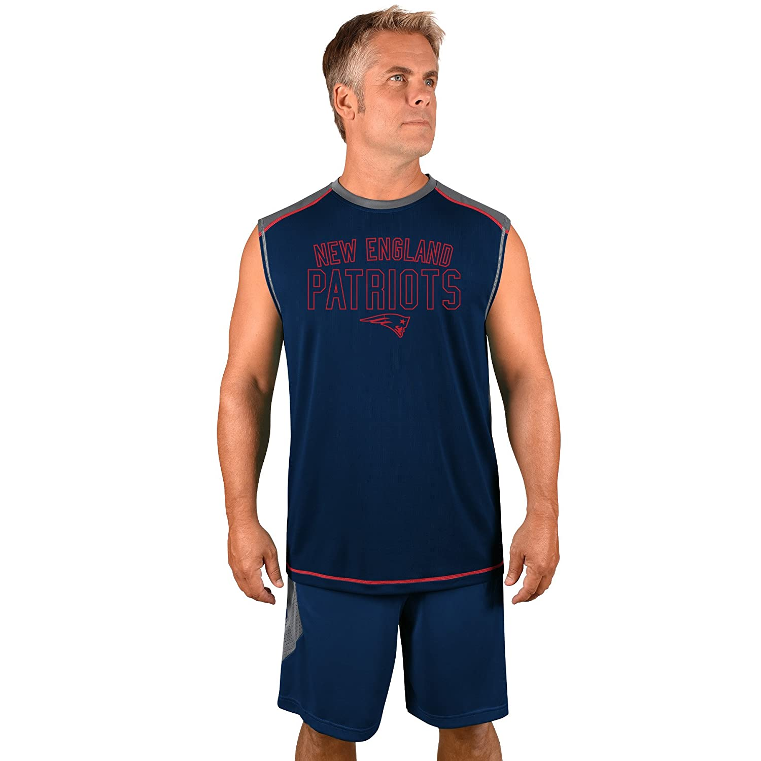 Profile Big Tall NFL New England Patriots Adult Men NFL Plus S Synthetic Muscle 3X Storm Grey Navy