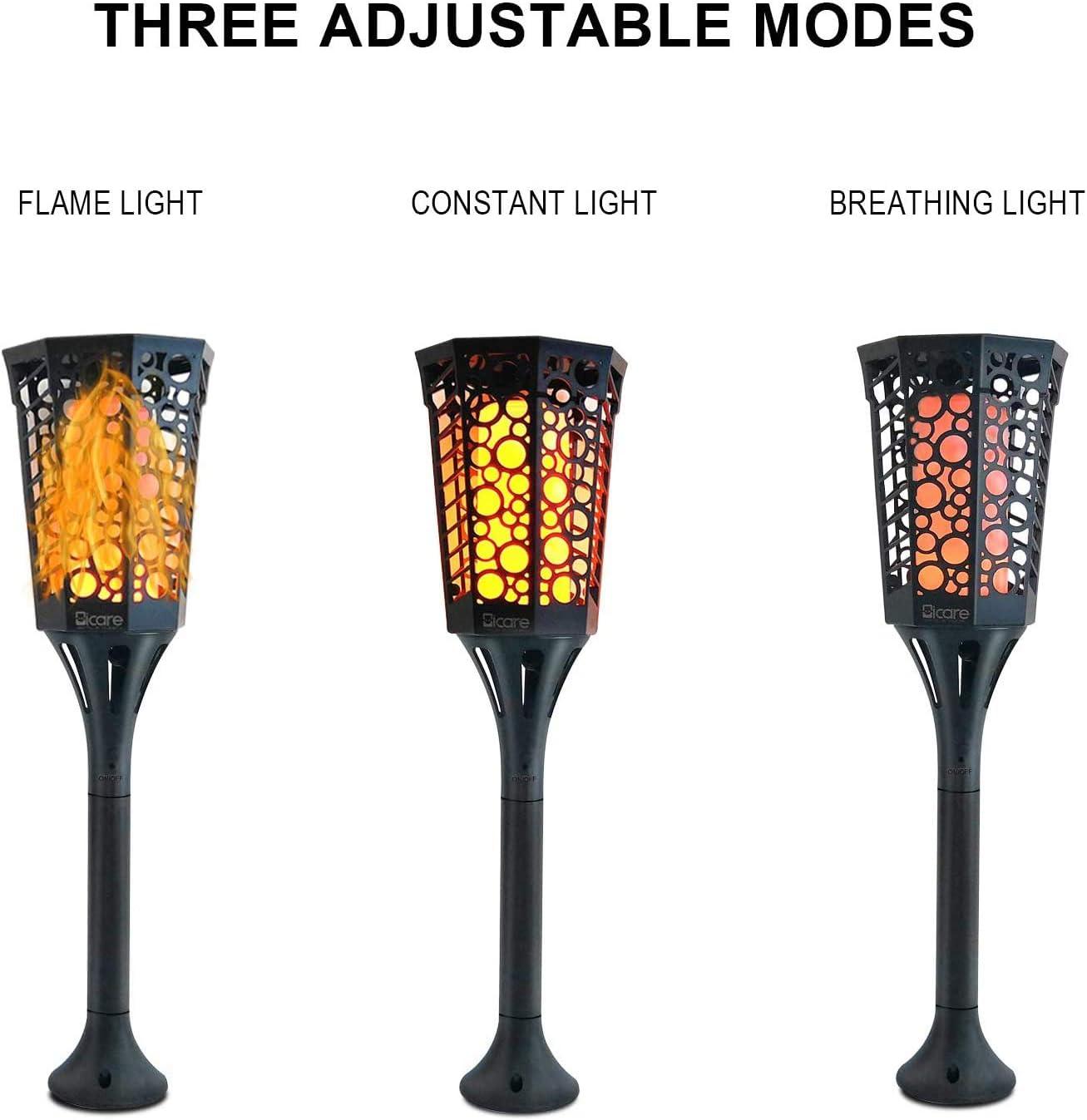 luces de llama solar decoraci/ón solar de encendido y apagado autom/ático para caminos L/ámpara solar de llama l/ámpara de jard/ín impermeable con llama parpadeante con 99 ledes paisaje