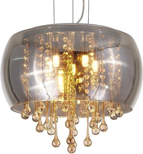 Saint Mossi Chrome Modern K9 Crystal Chandelier Lighting LED Ceiling Light Fixture Pendant Lamp for Dining Room Bathroom Bedroom Livingroom 7*G9 Bulbs Required H19 W22