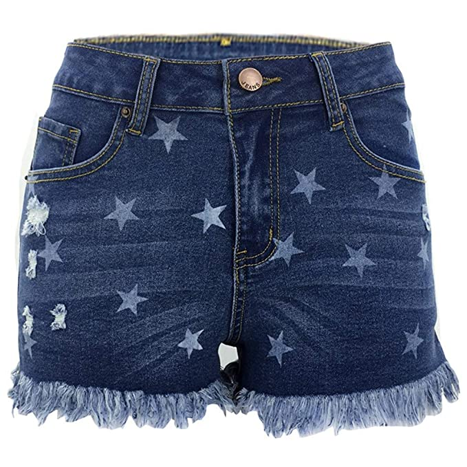 ad339e029 Nicetage Women s Lace up Ripped Short Jeans Sexy Stretchy Destroyed Denim  Shorts Mini Hot Pants