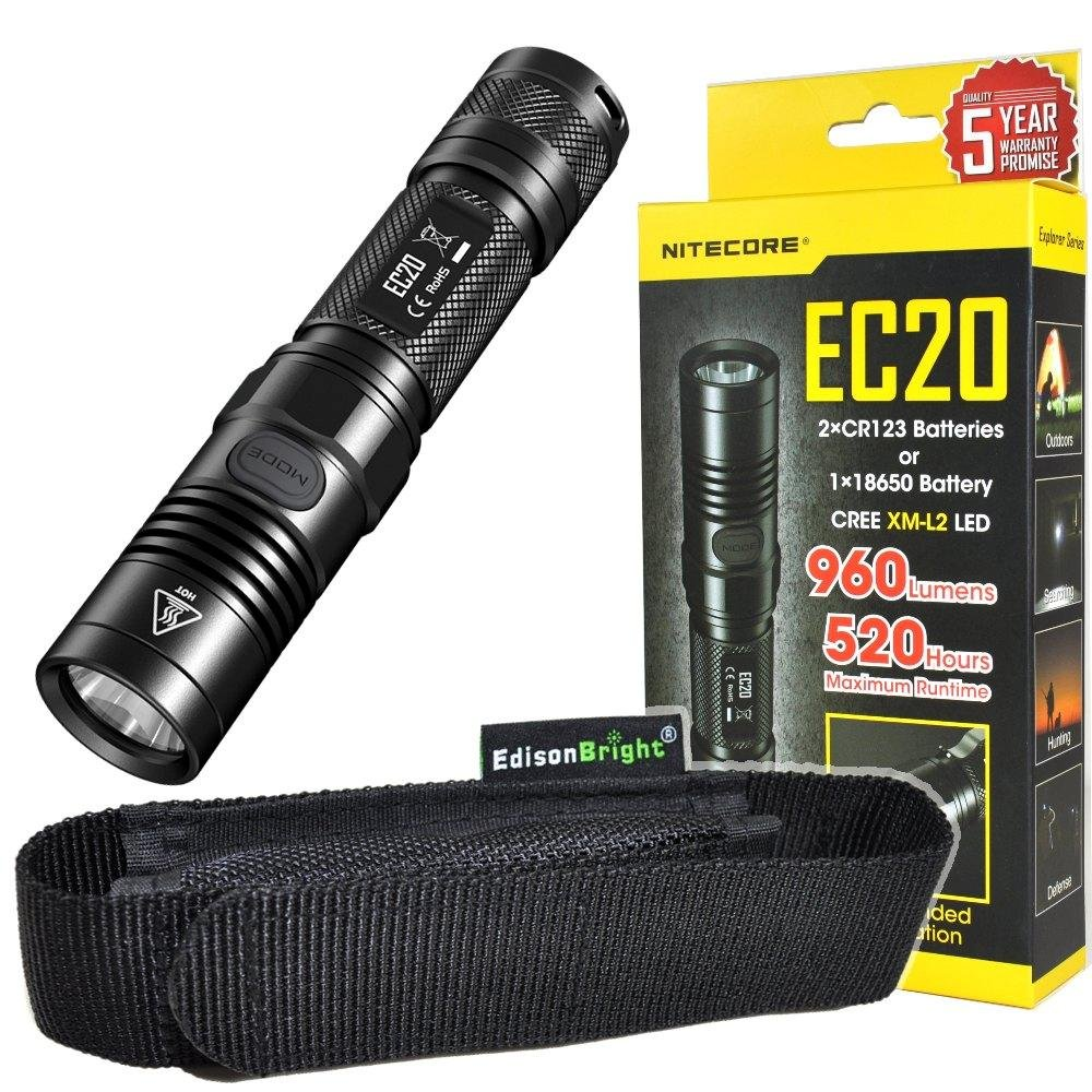 Nitecore EC20 960 Lumen CREE XM-L2 T6 LED Flashlight EDC with EdisonBright holster