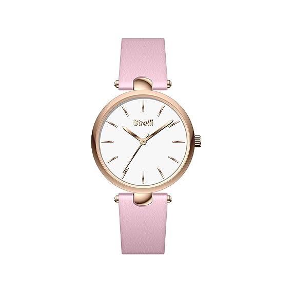 STROILI Reloj mujer solo tiempo de acero y correa piel rosa colección Pigalle