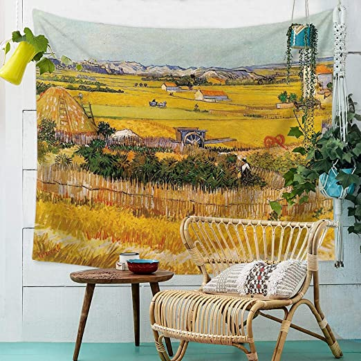 6, 59Wx51L QCWN Farm Crop by Vincent Van Gogh Art Oil Painting Tapestry Wall Hanging for Bedroom Living Room Dorm Home Decoration Art