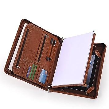 Xiaozhi - Cartera portadocumentos de piel con funda para iPad 4, iPad 3 e iPad 2, color marrón: Amazon.es: Informática