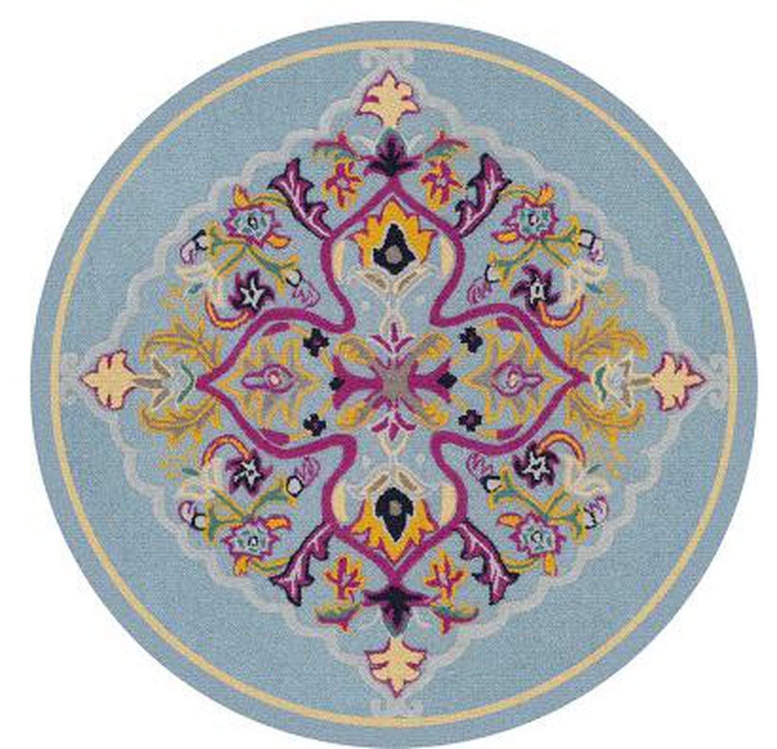 Nordic Retro Ethnic Jacquard Mandala Round Mat Flower Nordic Printed Round Carpet for Livingroom Kids Room Large Area Rug Ho,H,120x120cm by Ting room