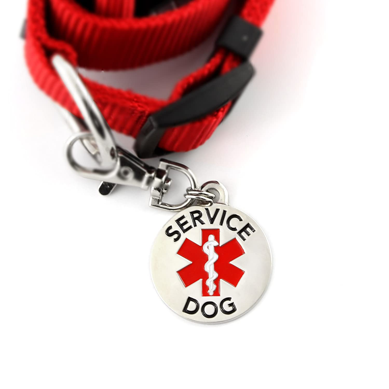 1 Inch Bright Red Adjustable Collar with Double Sided Service Dog Medical Alert Symbol 1.25 inch Durable Stainless Steel Tag for Medium to Large Service Dogs
