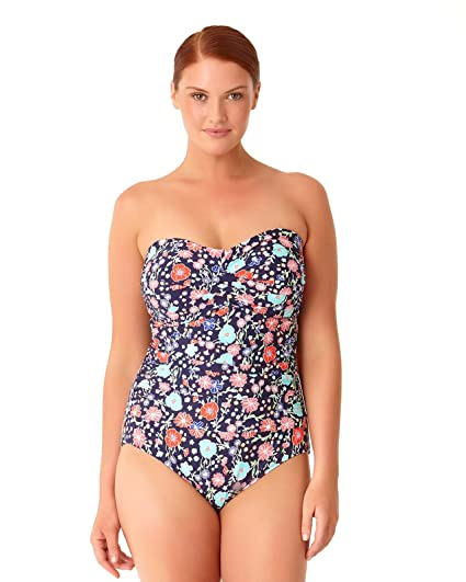 a31470e5e5a39 ANNE COLE LAZY DAISY NAVY TWIST FRONT SHIRRED BANDEAU ONE PIECE at ...