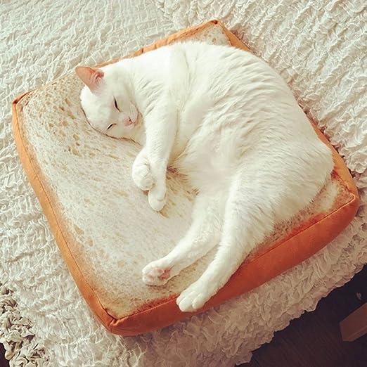 RIsxffp Creativo Lindo Tostada Suave Rebanada Pan Forma Esponja Relleno Mascota Gato Cama Mat Cojín 40 * 40 * 6.5cm Case(no Tiene Rellenos)