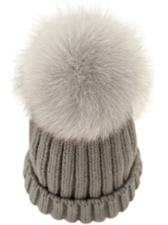 19d3a7da086 2PC Parent-Child Winter Real Raccoon Fur Pom Pom Knit Hat Stretchy ...