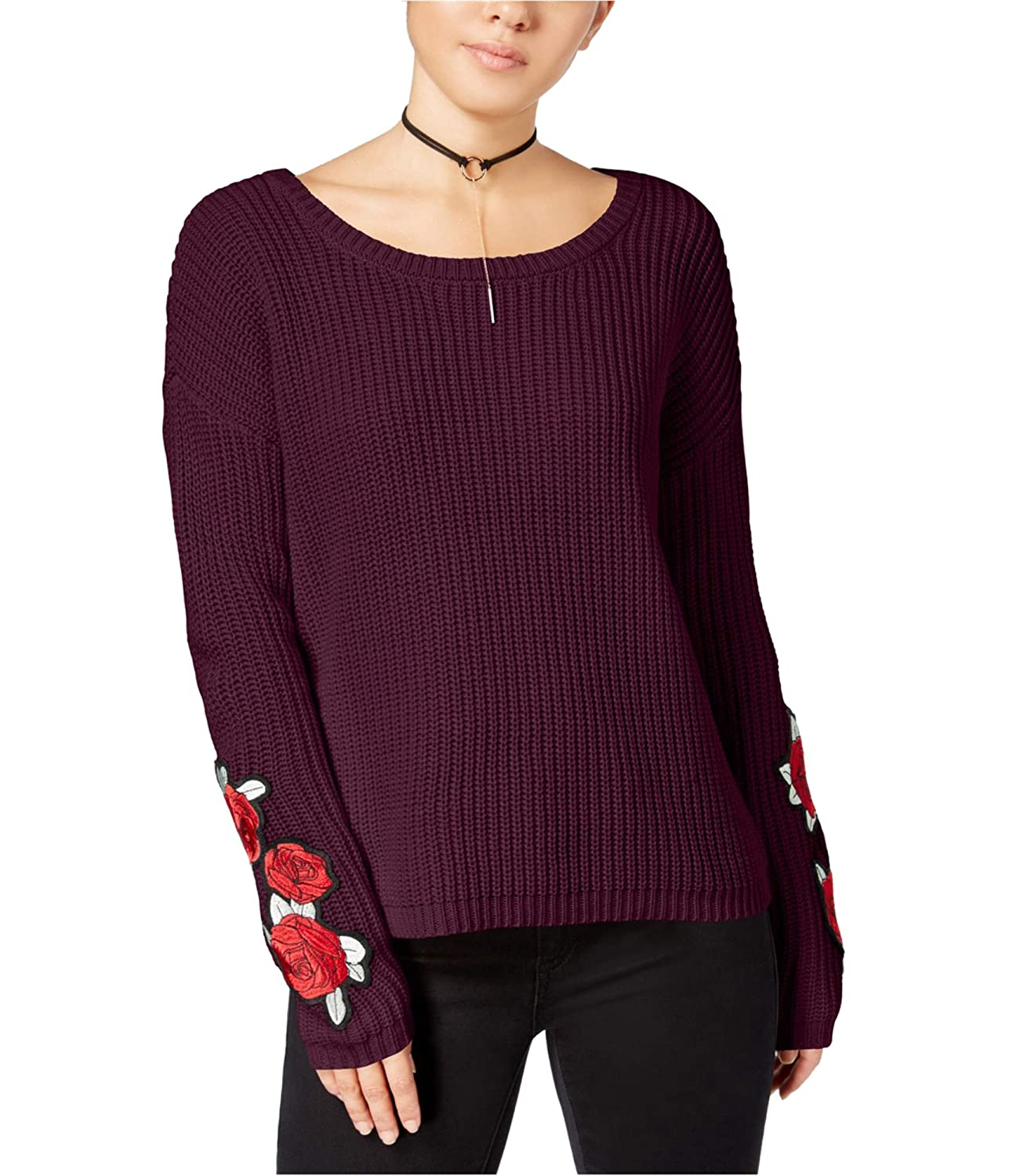 Almost Famous Juniors Rose-Embroidered Sweater
