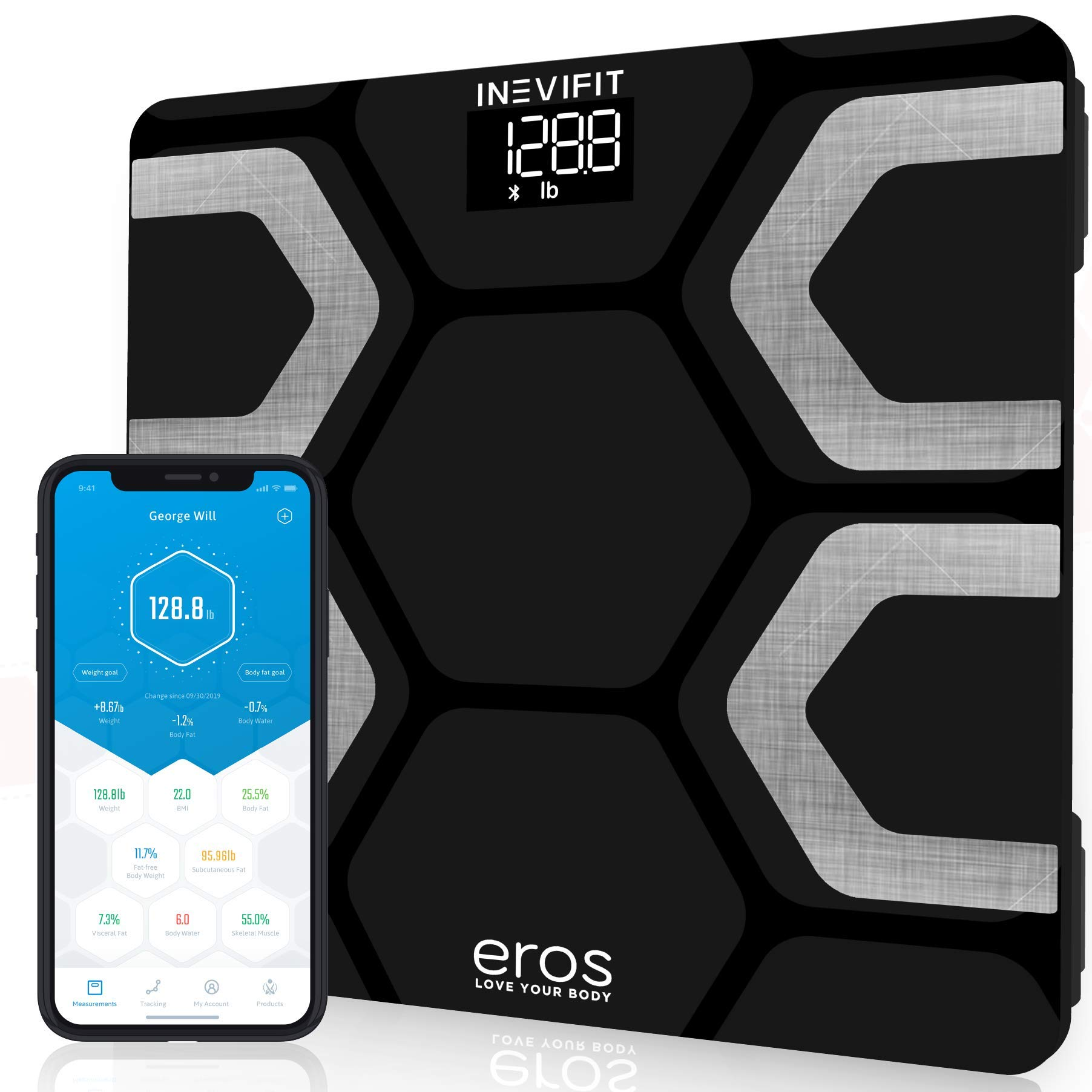 INEVIFIT EROS Bluetooth Body Fat Scale Smart BMI Highly Accurate Digital Bathroom Body Composition Analyzer with Wireless Smartphone APP 400 lbs 11.8 x 11.8 inch (Black) by INEVIFIT