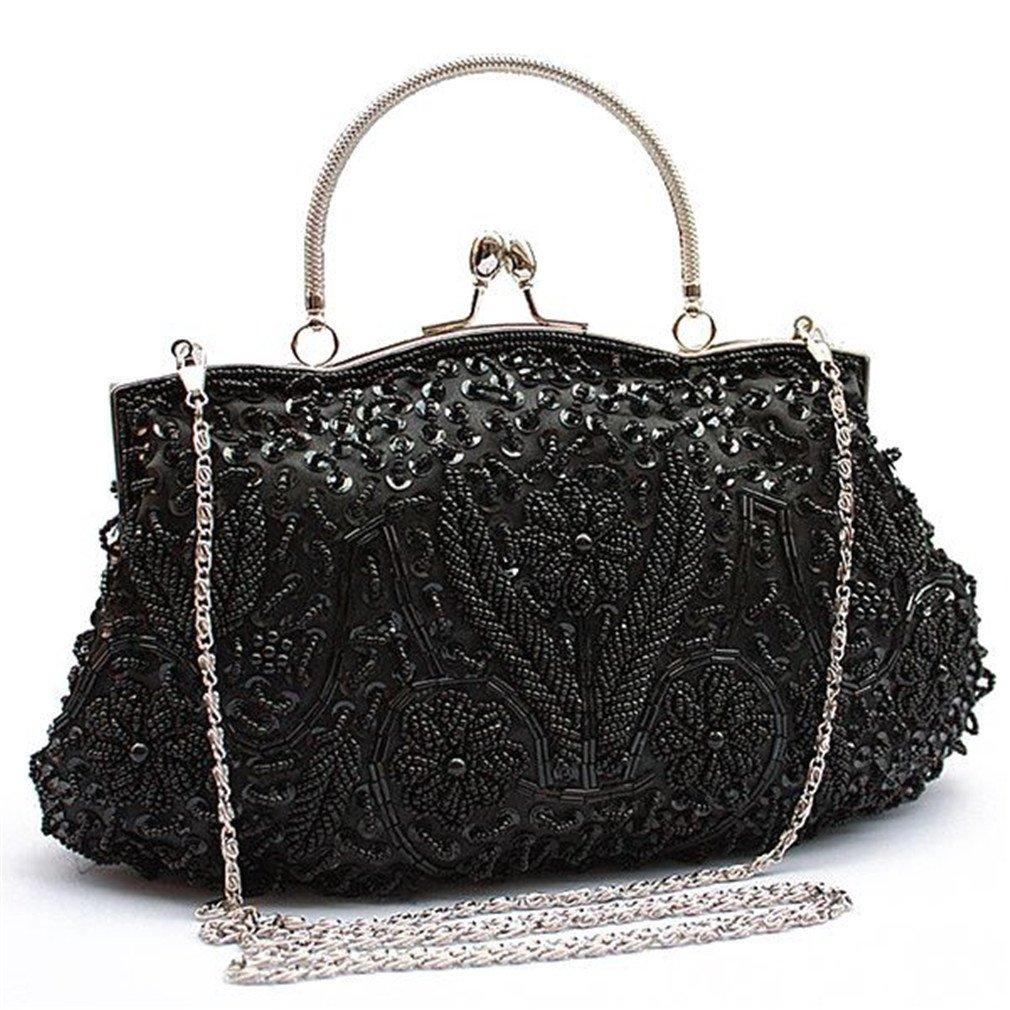 4aee46edd5 Amazon.com: ULKpiaoliang Vintage Evening Beaded Bags Wedding Bags Bride  Women Messenger Party Handbags Elegant Handmade Clutch Purses Black: Sports  & ...