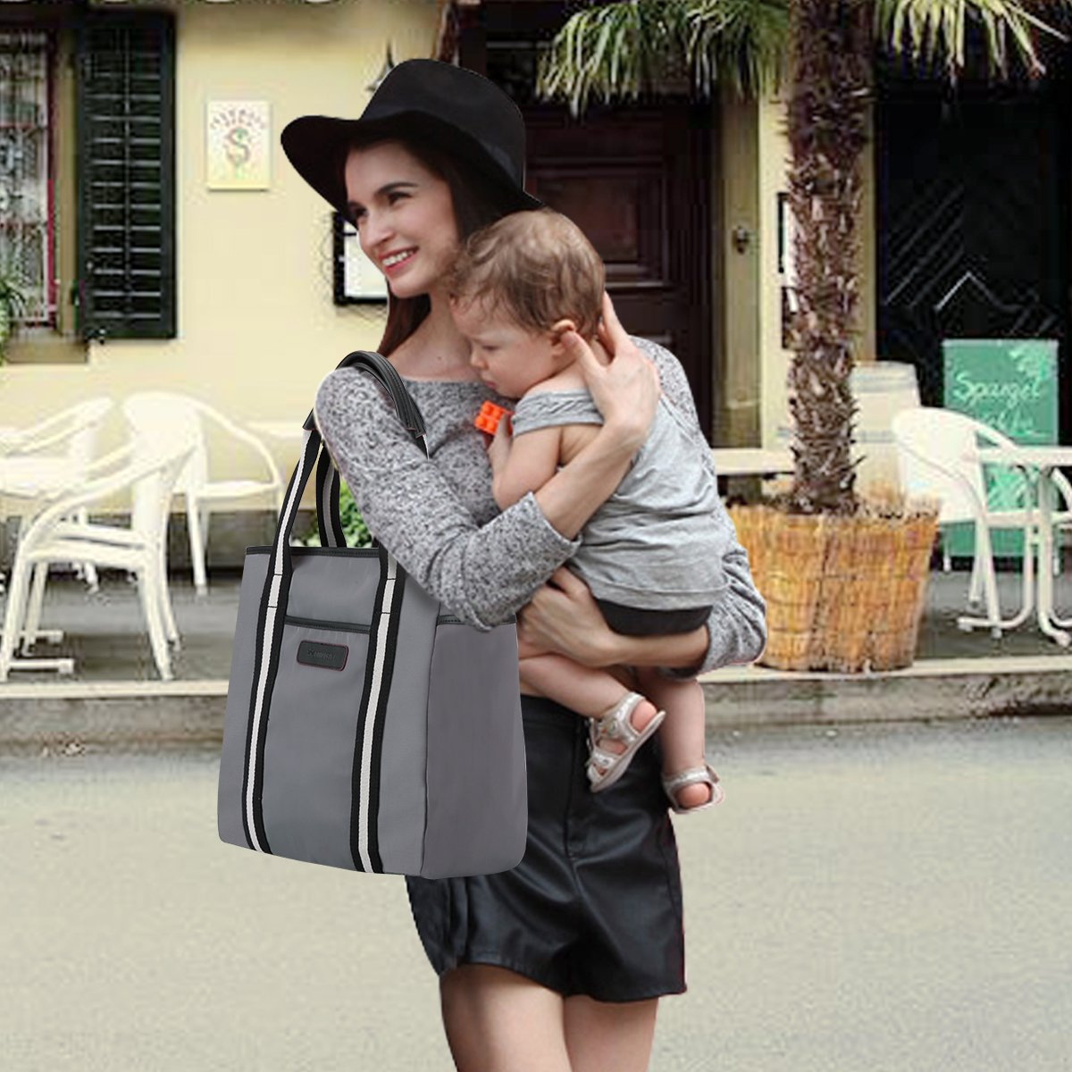 S-ZONE Baby Diaper Large Bag Handbag with Changing Pad and Insulated Pocket Tote/£/¨Blue/£/©