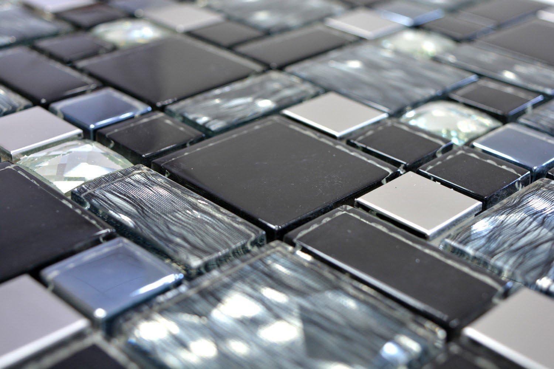 WC et salle de bain avec motif mosa/ïque Mosaik Carrelage translucide en acier inoxydable noir et verre pour salle de bains