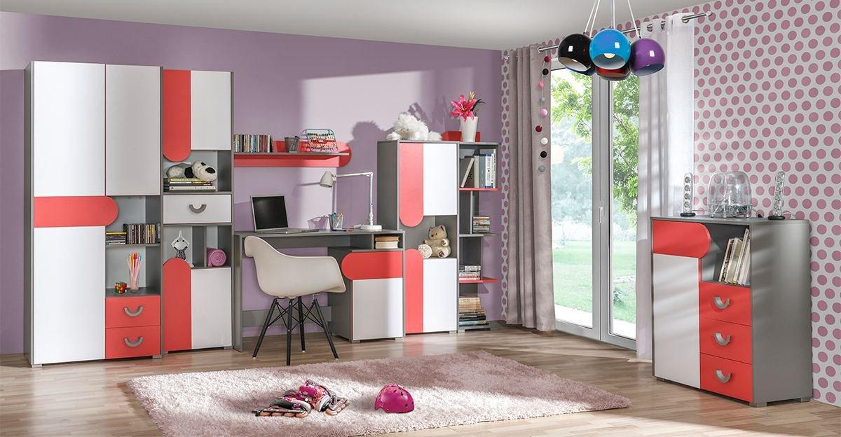 Jugendzimmer Komplett - Set C Klemens, 7-teilig, Farbe: Rosa / Weiß / Grau