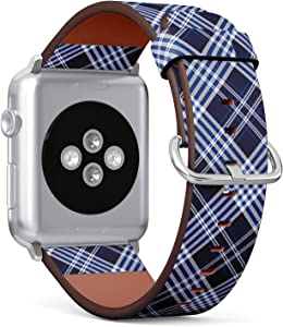 Compatible with Big Apple Watch 42mm & 44mm (All Series) Leather Watch Wrist Band Strap Bracelet with Stainless Steel Clasp and Adapters (Plaid Check Dark Navy)