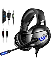 ONIKUMA Gaming Headset 7.1 LED Bass Surround Noise Cancelling mit Mikrofon 3,5mm Stumm-und Lautstärkeregler Gaming Kopfhörer für PS4 PC XboxOne usw.