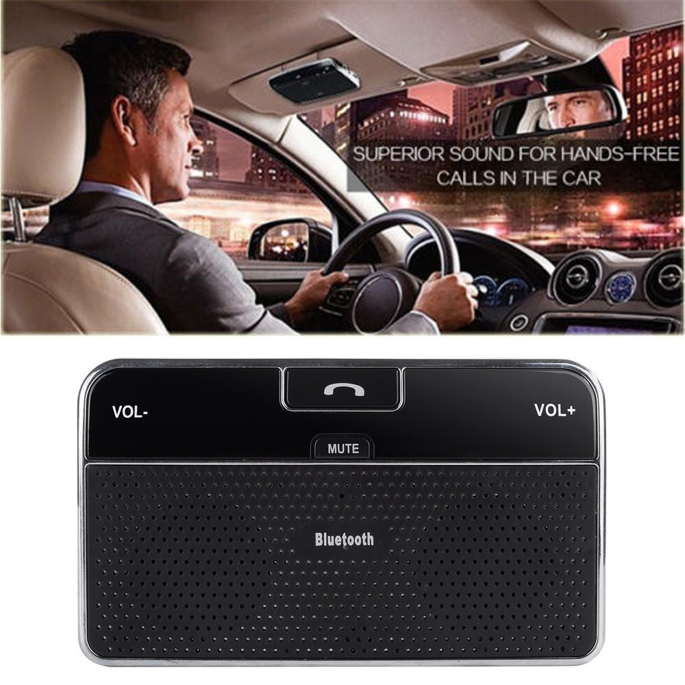 DLAND Bluetooth 4.0 Visor Handsfree In-Car Speakerphone Car kit for iPhone, Samsung, HTC and all other Cellphones CBS-002
