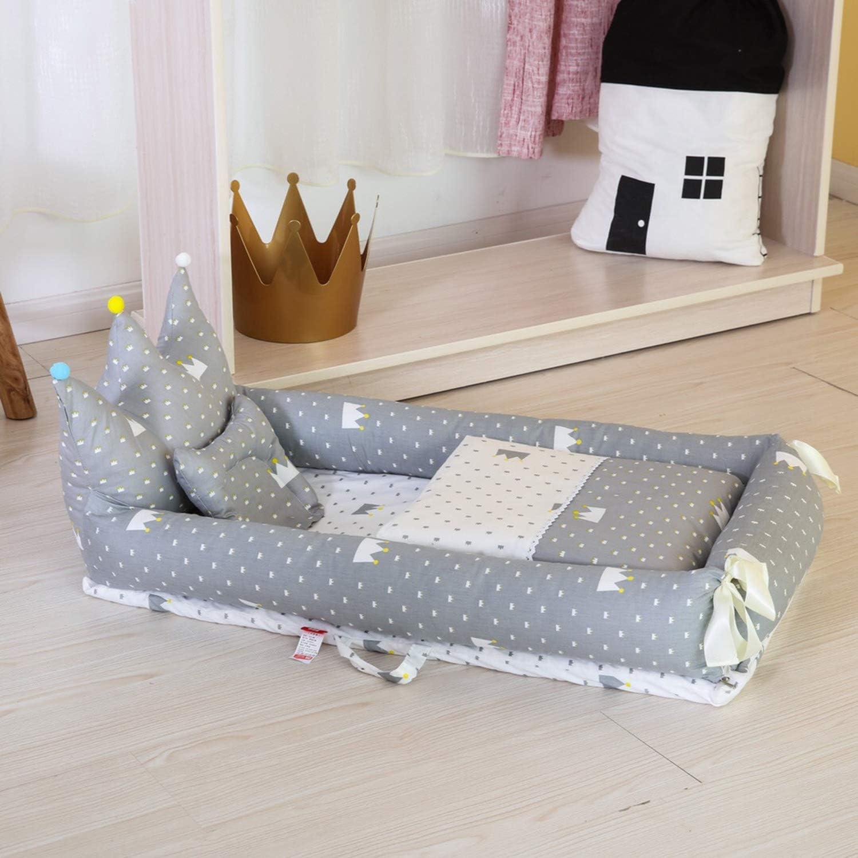 AIBAB Folding Crib Newborn Multifunctional Baby Nest Cotton Comfort Fabric Black