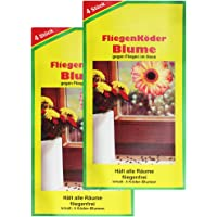 COM-FOUR® 8x Fliegenköder in Blumenform, Fensteraufkleber (08 Stück - Köder)