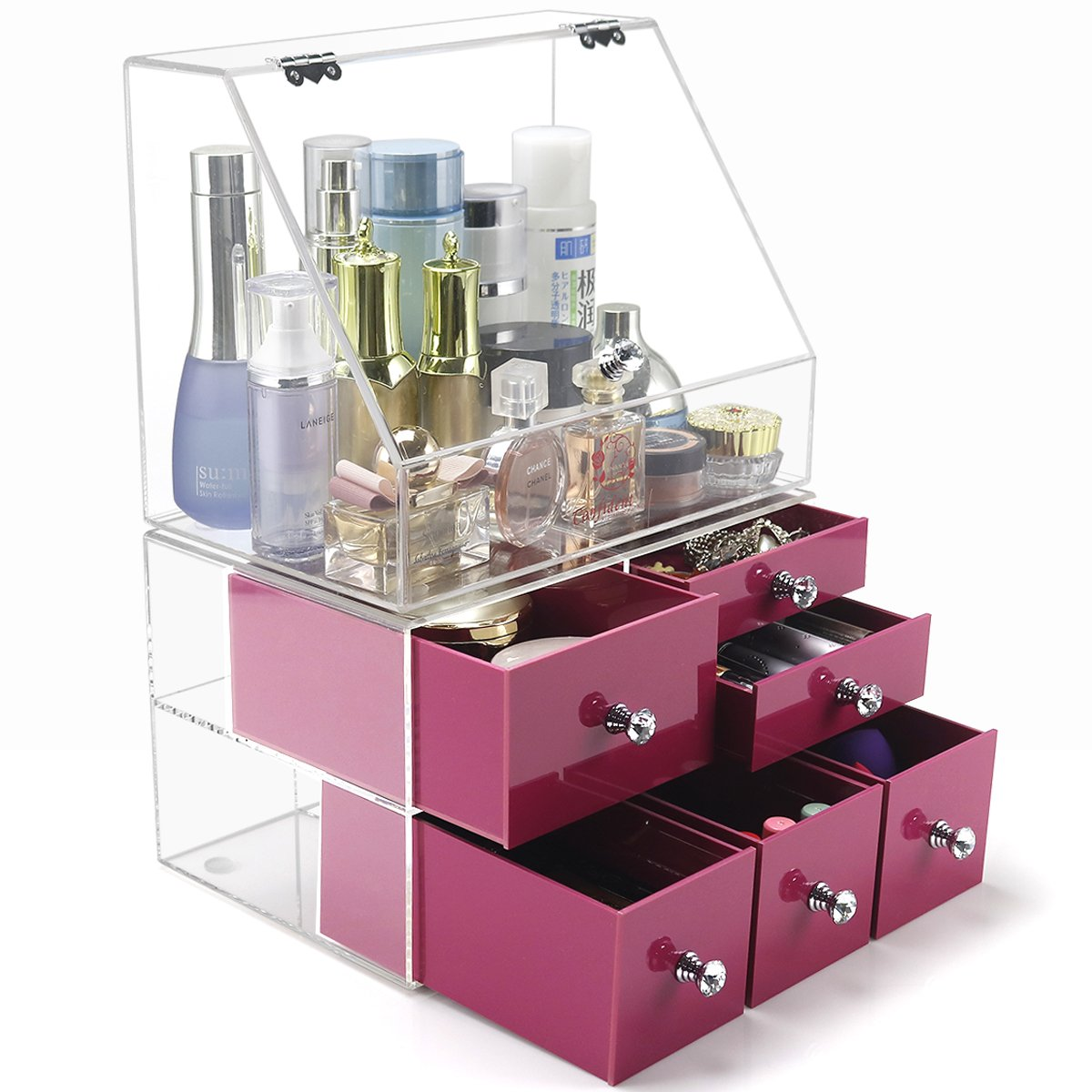 DYCacrlic Acrylic Makeup Organizers,2018 New Design Clear Extra Large Cosmetic Storage,Big Clear Box,6 Pink Deep Drawers,Stackable, Separated Top and Bottom,Decorative Vanity Countertop