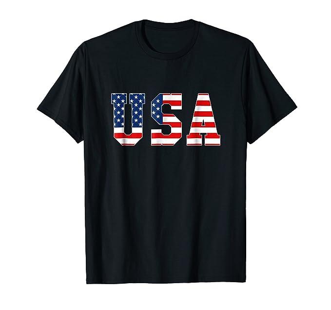 Mens White Proud American USA T Shirt 4th July Patriotic T-Shirt