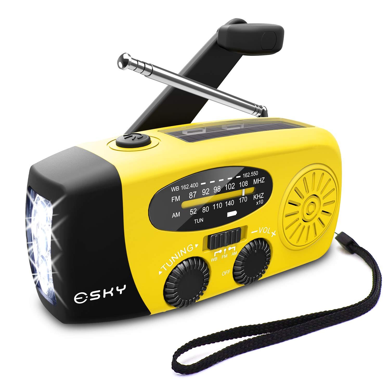 Esky Solar Weather Radios Hand Crank Self Powered Emergency FM/AM/NOAA Radio with LED Flashlight and 1000mAh Yellow
