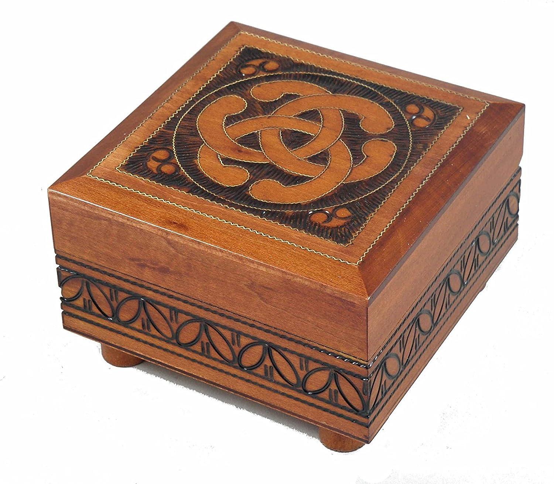 Celtic nudo caja polaco de madera decorada hecha a mano con secreto apertura: Amazon.es: Joyería
