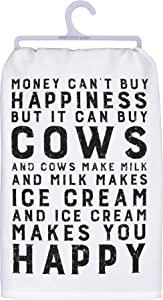 """Primitives by Kathy 39404 Farmhouse Dish Towel, 28"""" Square, Money Can Buy Cows"""