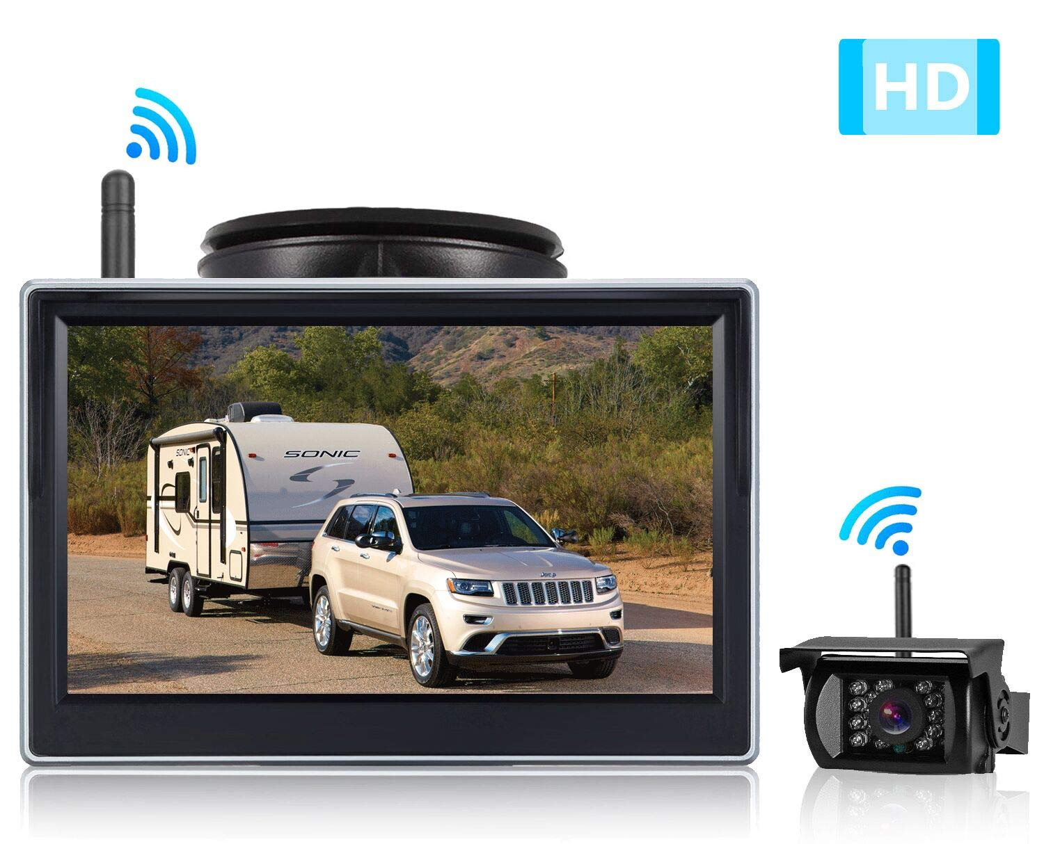 Emmako HD Digital Wireless Backup Camera System with 5'' Monitor for Cars,Pickups,Trucks,RVs,Trailers,Rear/Front View Camera,Guide Lines On/Off,Ip69 Waterproof