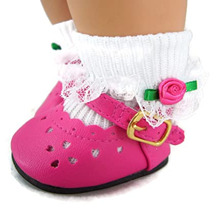 361f834b81fc0 Hot Pink Dress Shoes & Rosebud Socks made for Bitty Baby Doll by Doll  Clothes Sew Beautiful
