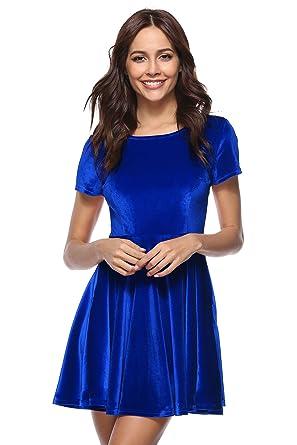 YSJERA Women s Velvet Pleated Round Neck Short Sleeves A Line Skater Party  Mini Dress Royal Blue 5e2d85826
