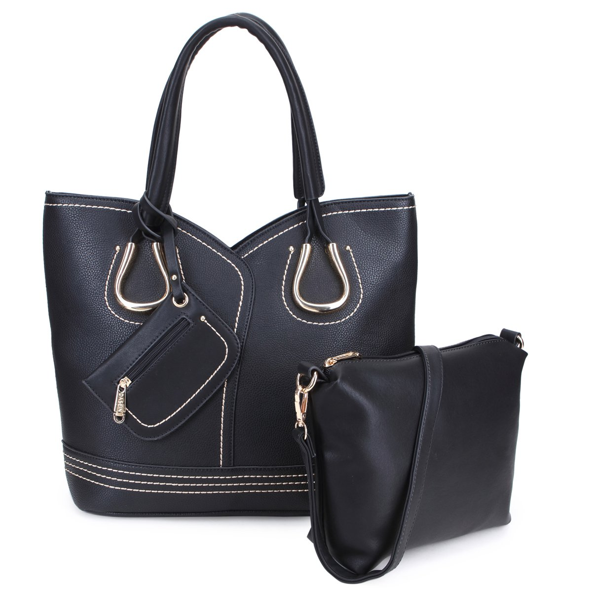 Women Tote Handbag 3 Pieces Set Leather Hobo Shoulder Bag Satchel Purse Black