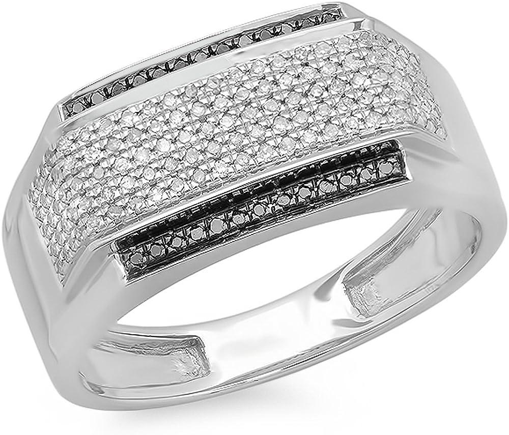 Dazzlingrock Collection 0.45 Carat (ctw) White & Black Diamond Men's Hip Hop Pinky Ring 1/2 CT, Sterling Silver