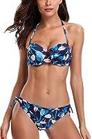 CharmLeaks Womens Rerto Two Piece Bikinis Halter Bikini Swimsuit Sets With Underwire