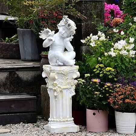 Estatuas para jardín Ángel Columna Romana Jardín Esculturas óxido De Magnesio Impermeable para El Patio Al Aire Libre Balcón del Ornamento C~25 * 25 * 850CM: Amazon.es: Hogar
