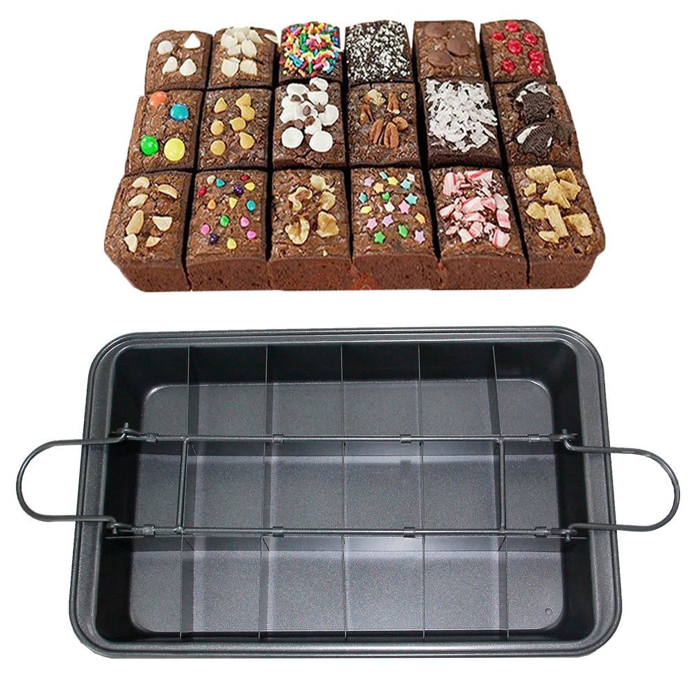 CHEFHUB Extra Thick Brownie Pan with Rack/Dividers Slice Solutions Nonstick Baking Pan Metal Utensil with Built-In Slicer,Ensures Perfect Crispy Edges 12.2'' x 8'' Large