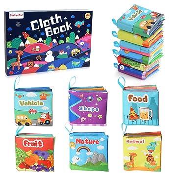 BeebeeRun Libros Blandos para Bebes 6 Piezas,Libro de Tela Bebé Aprendizaje y Educativo Libro para Bebé Recién Nacido Niños