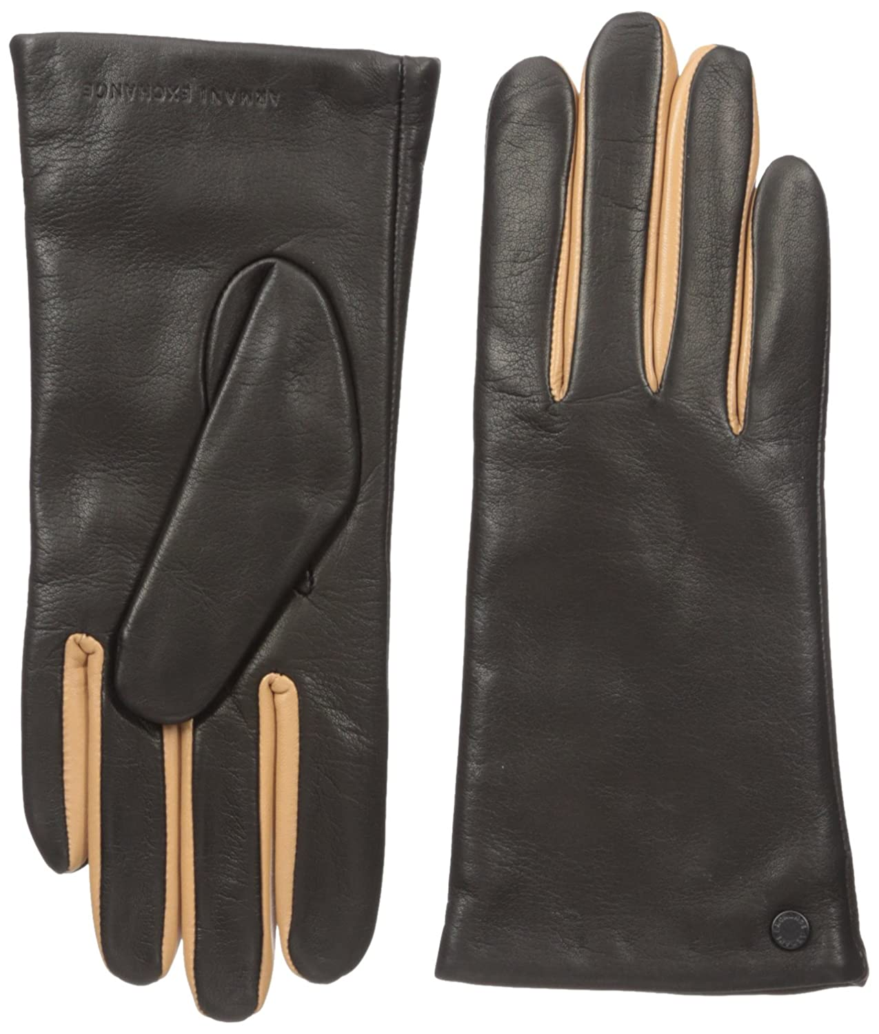 Armani exchange black leather gloves - A X Armani Exchange Women S Simple Leather Gloves Black X Small Small At Amazon Women S Clothing Store