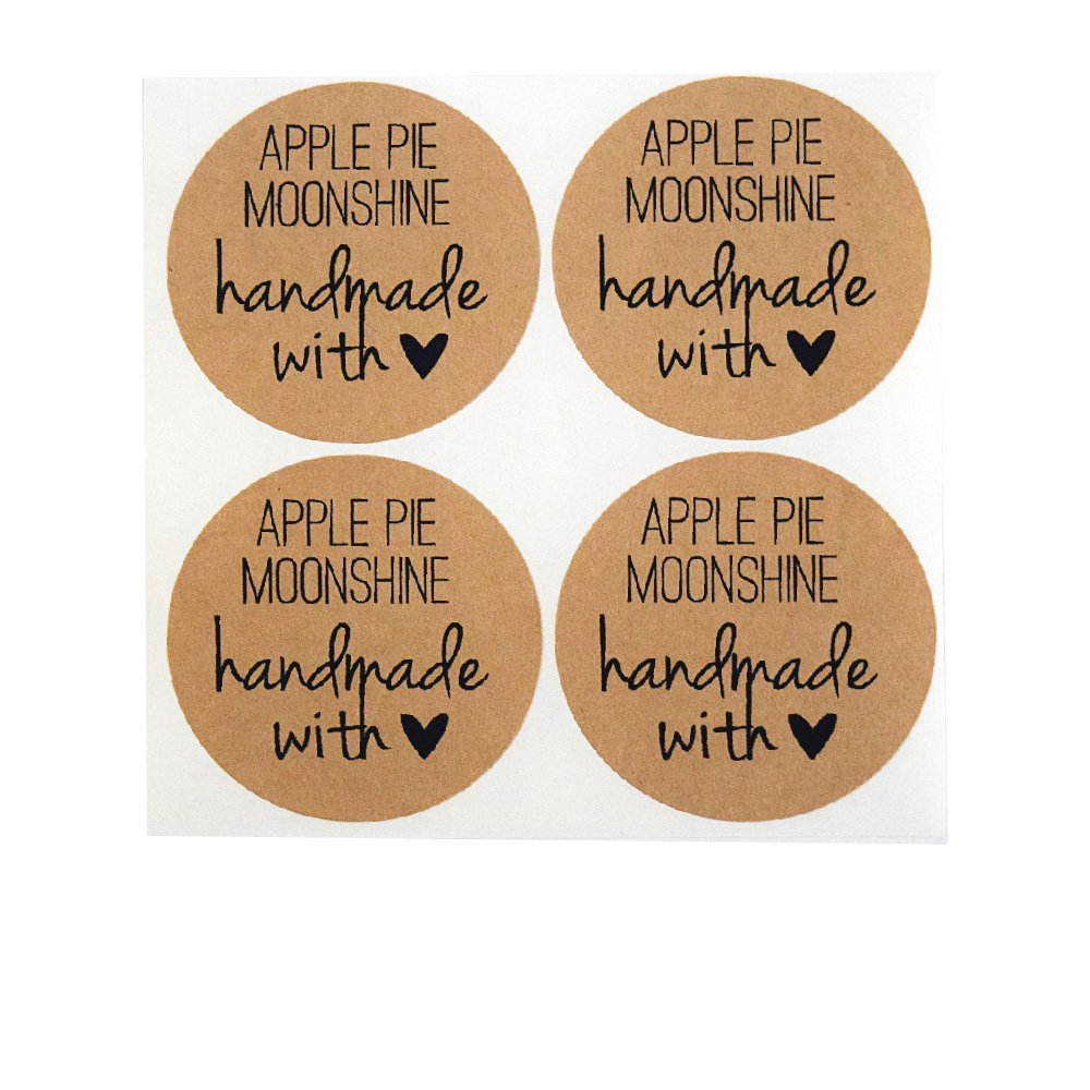 Apple Pie Moonshine Labels by Once Upon Supplies, Moonshine Bottle Stickers, 2'' Size for Regular Mouth Mason Jars, 40 Pcs