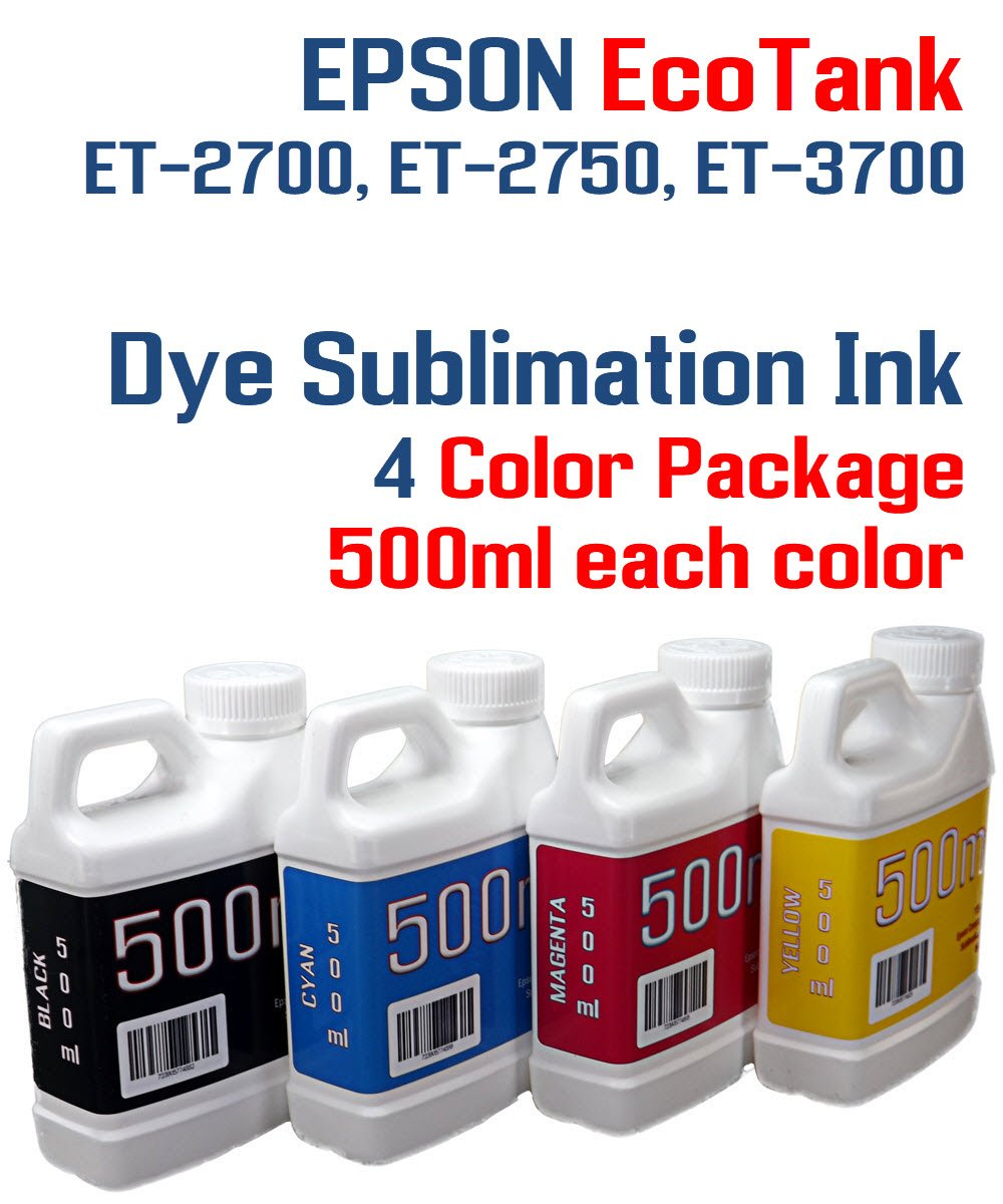 Dye Sublimation Ink 4 Multi Color 500ml bottles - EcoTank ET-2700, ET-2750, ET-3700 by Try The Ink