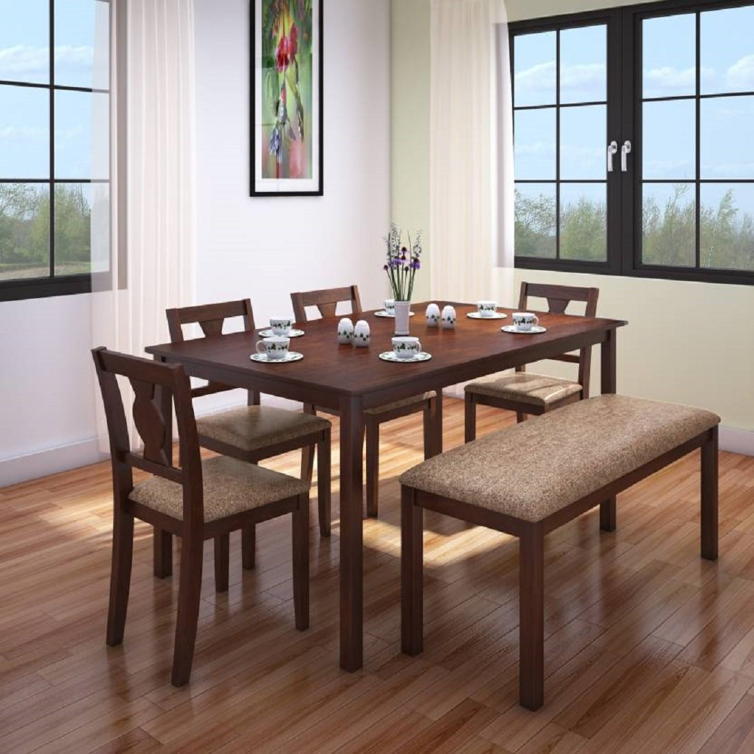 HomeTown Artois Solid Wood Six Seater Dining Set in Antique