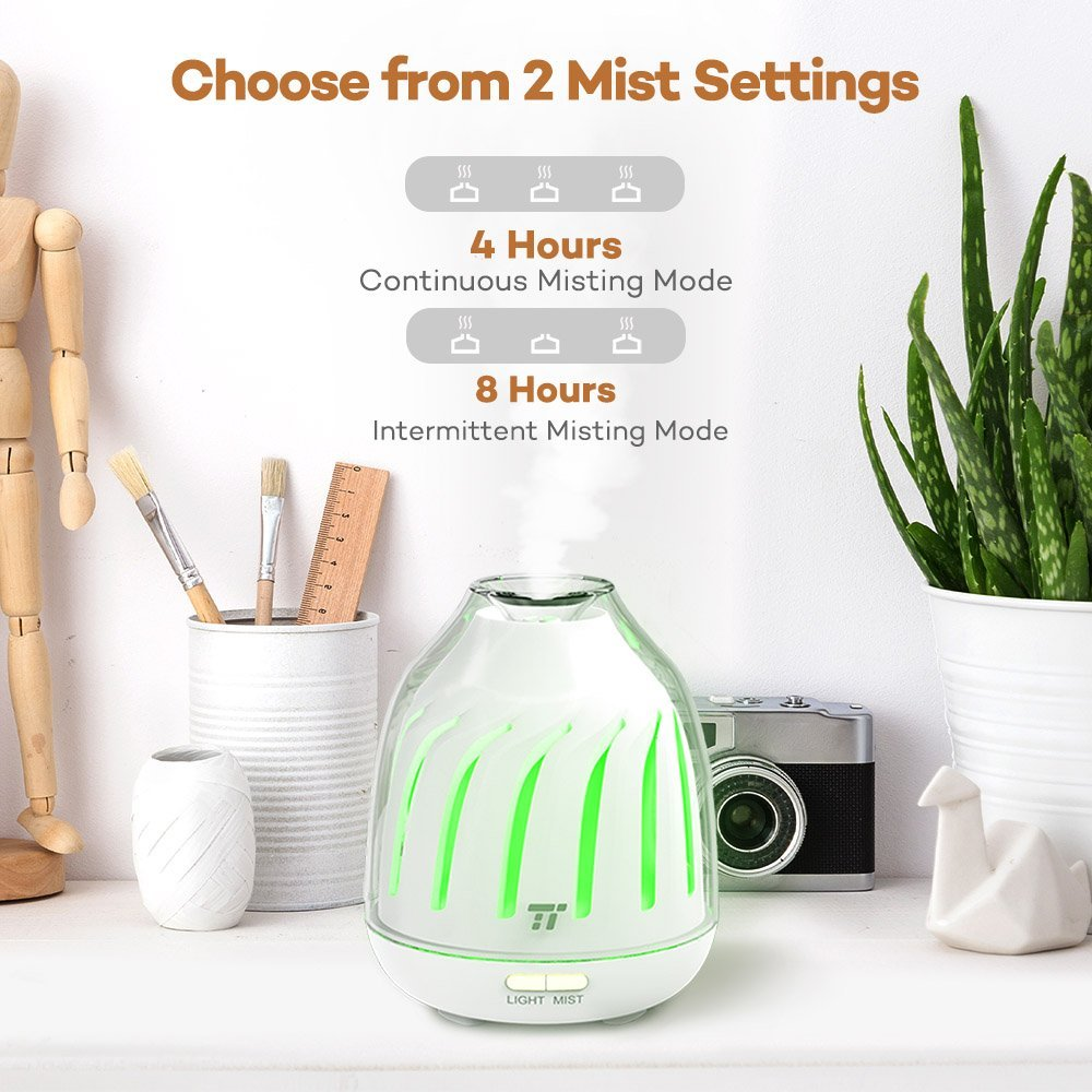 TaoTronics Diffuser, No-Beep Sound Essential Oil Diffusers, Silent Operation 120ml Aromatherapy Diffuser Kids (Breathing Light, 5 LED Colors, 2 Mist Modes Ultrasonic, Waterless Auto Shut Off) by TaoTronics (Image #7)