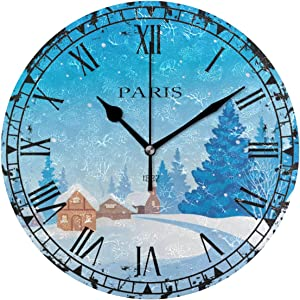 LSDINDF 1882 Paris Winter Blue Tree House Antique Kitchen Wall Clock, Eruner Lovely Silent Quiet Clock for Lounge Bedroom Living Room Dining Room Hallway Clock with Retro Feel Birthday Gift