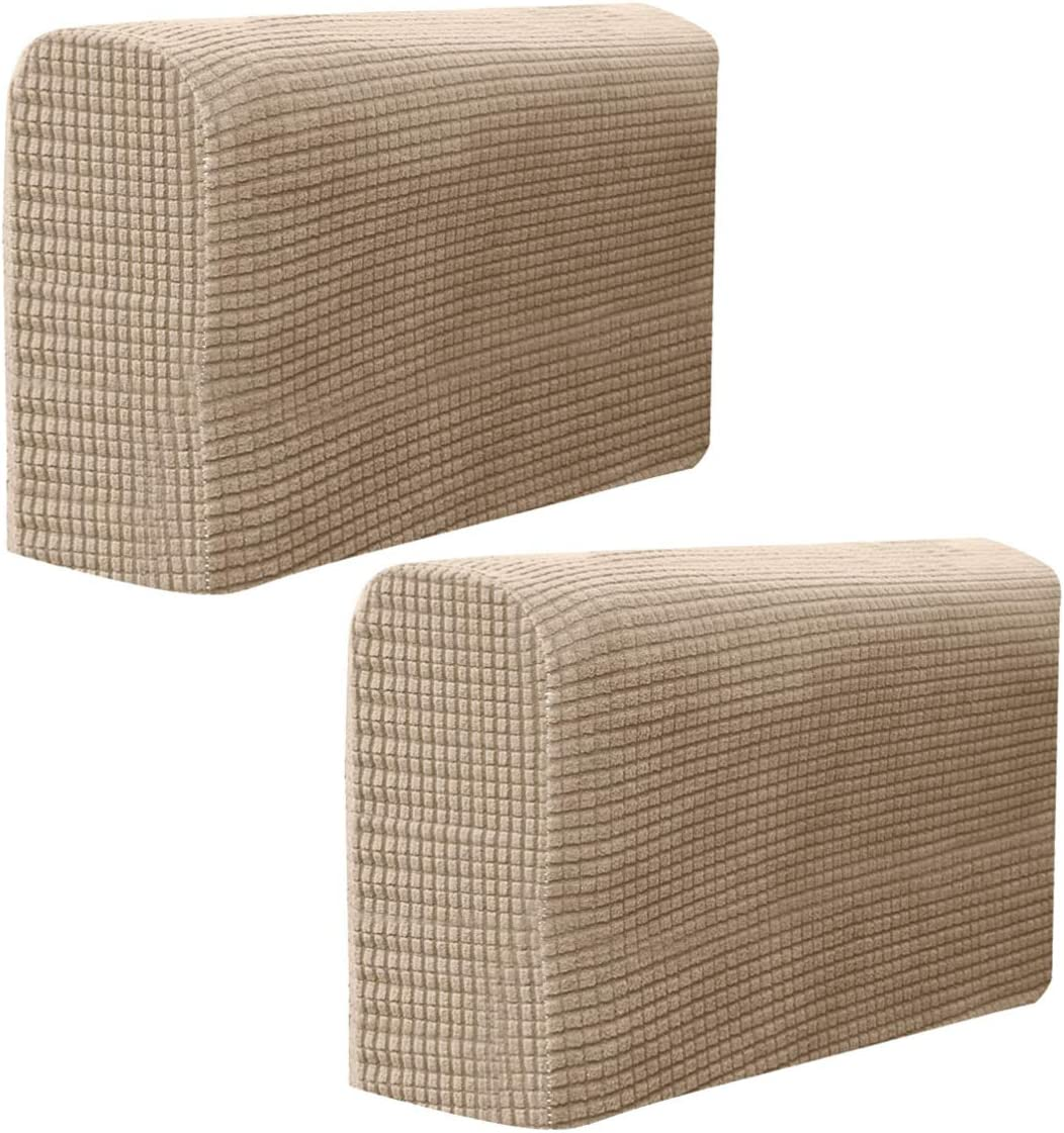 BESPORTBLE Chair Arm Protectors Sofa Armrest Cover Stretch Armchair Slipcover Protector Elastic Home Office Recliner Couch Loveseat Protective Cloth 2pcs Beige