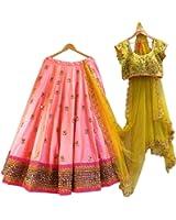 StyleVilla Women's Pink Silk Semi-stitched Lehenga cholis(Style04_Pink_Freesize)