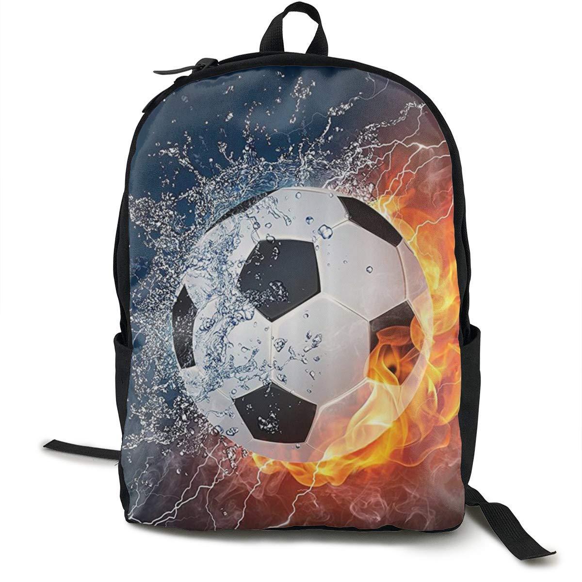 Balón de fútbol en Llamas de Fuego y Agua salpicando Thunder ...