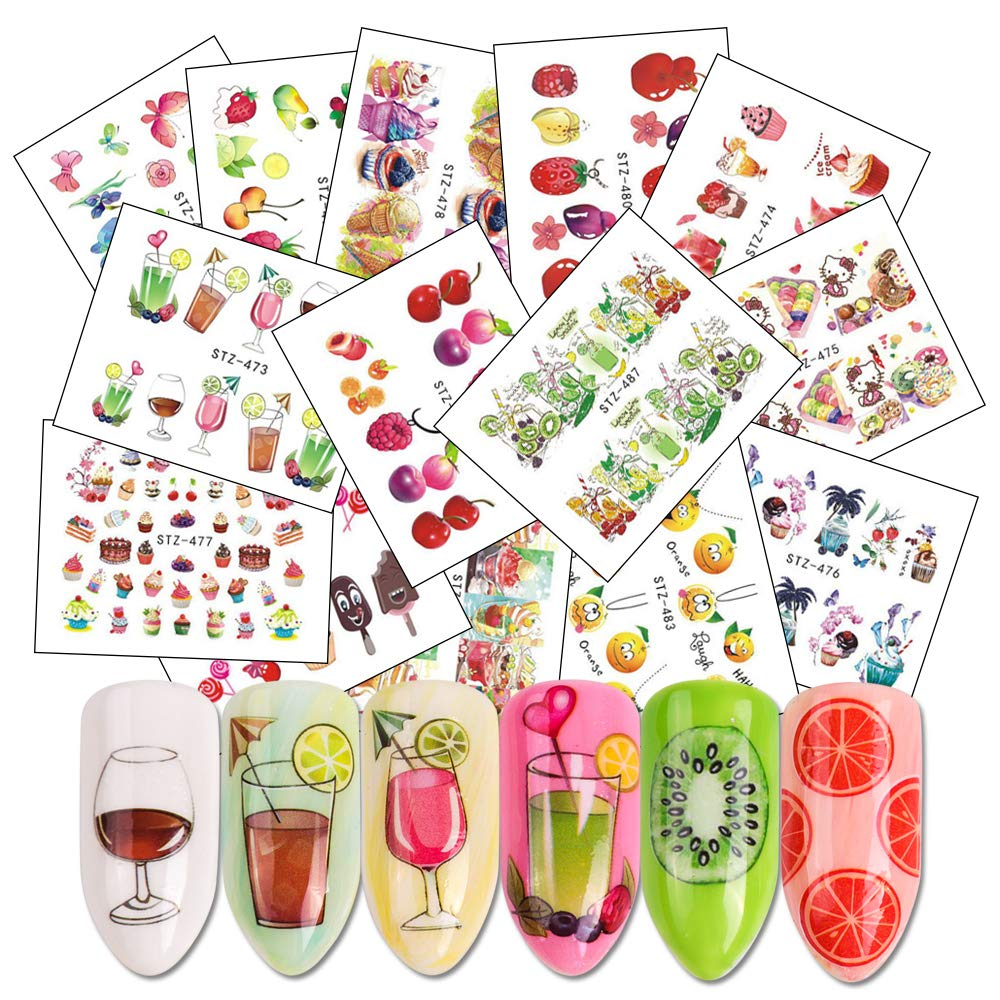 Nail Stickers Set Nail Art Self-Adhesive Watermark Stickers Nail Water Transfer Applique with Summer Sweets Cake/Ice Cream/Drink/Fruit Designs Manicure Tip Foil Nail Decals for Women, Girls(18 sheets)